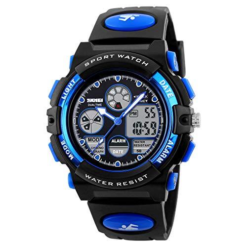 Reloj deportivo Eekronische para niños y niñas, luminoso, multifunción, resistente al agua, con correa de silicona