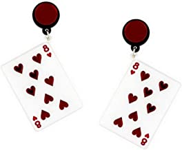 CutieJewelry Dangle Poker Party Unique Players Big Card Earrings
