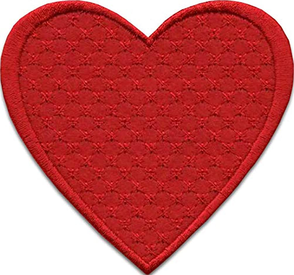 Iron On Patches - Red Heart Patch Iron On 3 pcs Patch Embroidered Applique Heart (3.23 x 3.42 inches) S-38