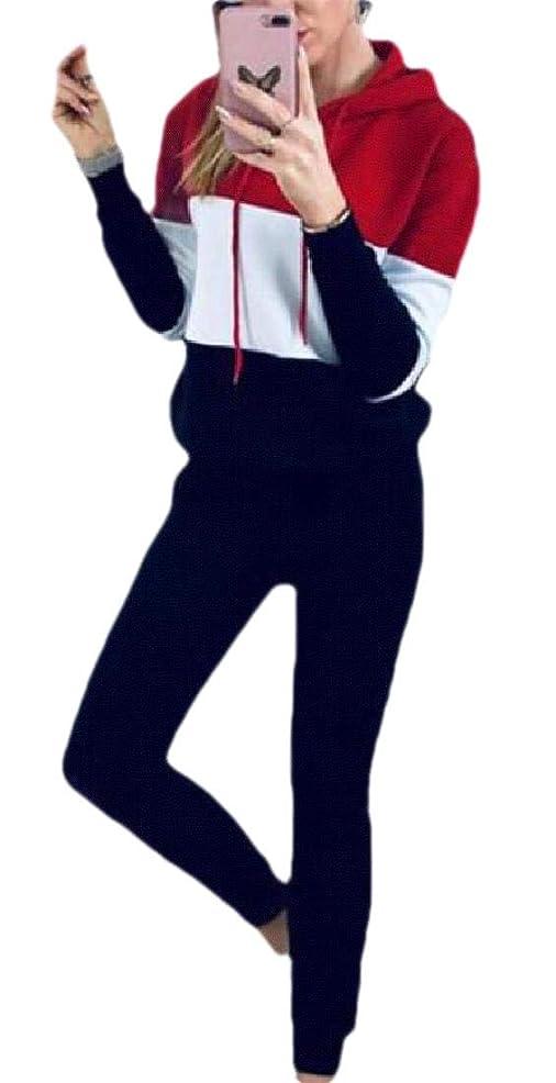 甘やかす想像する行商人女性2ピースカラーブロックトラックスーツパーディ作物トップ+パンツセットスポーツウェア