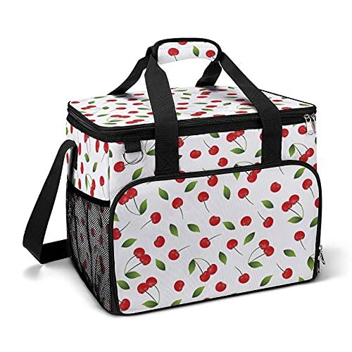 Bolsa térmica térmica portátil a prueba de fugas, diseño de cerezas adecuado para niños y niñas con bolsa y bolsillos laterales de malla, adecuado para picnics escolares o trabajo.