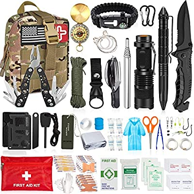 Aokiwo 126Pcs Emergency Survival First Aid Kit Professional Survival Gear Tool SOS Emergency Tactical Knife Pliers Blanket Bracelets Compass with Molle Pouch for Camping Adventures (Camouflage)