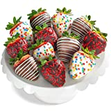 Our huge, sweet California strawberries are dipped in real premium real dark chocolate and rich, creamy white chocolate. Each berry is delicately hand dipped and decorated in our own kitchen for both culinary artistry and exquisitely decadent taste. ...