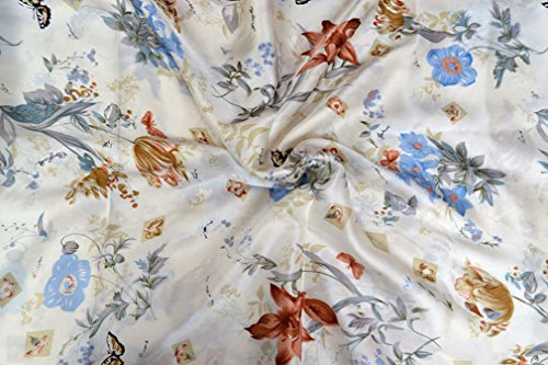 Maxfeel 100% Charmuse Silk Floral Fabric 45 Wide for Bedding Dress by The Yard (Sold by Half a Yard, 001)