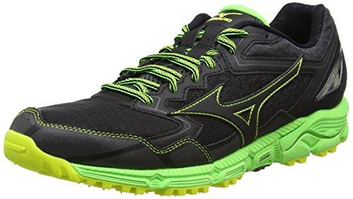 Mizuno Wave Daichi 2, Zapatillas de Running para Asfalto para Hombre, Negro (Black/Black/Green Gecko), 42.5 EU