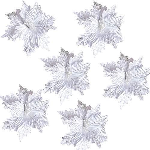 ZXCFTG Paquete de 6 púas de flores de Poinsettia con purpurina, de terciopelo artificial de 9.8 pulgadas, adornos de flores...