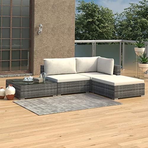 UnfadeMemory Garten-Lounge-Set Gartensofa mit Sitzkissen und Rückenkissen Poly Rattan Gartensofagarnitur Outdoor Rattansofa Loungecouch Gartenmöbel mit Couchtisch (Grau, 4-TLG. Set)