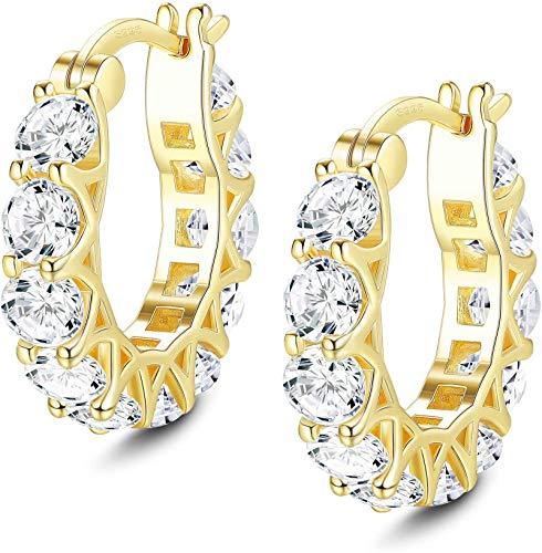Adramata Pendientes de aro chapados en oro de 14 quilates Pendientes de aro de circonita cúbica de plata de ley 925 para mujeres Hombres Pendientes de aro Huggie CZ Regalo