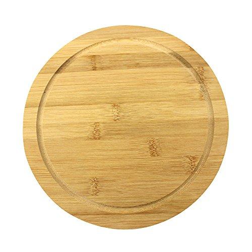 com-four® Teller aus Bambus, Servierbrett, mit Saftrille, Ø 25 cm (01 Stück - 25cm)