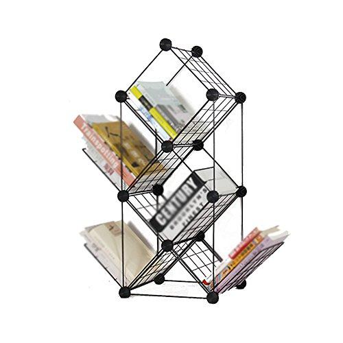 Étagère à livres CHUANLAN Northern Europe Iron Art Bibliothèque Étagère de Rangement pour Enfant au Sol Noir (Taille : Black 62 * 22 * 74cm)