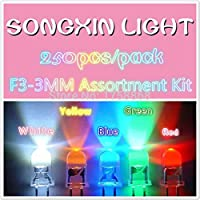 (250pcs/pack)(LED|Round 3MM) 3MM LED Assortment Kit, Ultra Bright,Water Clear, Green/Yellow/Blue/White/Red, Light Emitting Diode