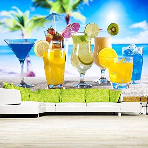 Preisvergleich Produktbild WH-PORP 3D Mural, Drinks Lemons Stemware Highball Glass Food tapetes, Restaurant tapete-128cmX100cm