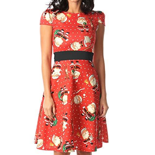 FIRMON Weihnachtskleider für Damen, ärmellos, hübsche Katze, Weihnachtsmütze, bedruckter Saum Gr. S, rot