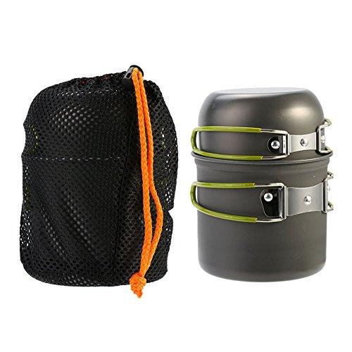 Ustensiles de Cuisine Camping Kit Casserole Bol Antiadhésif Léger Portable pour Pique-nique Randonnée Pédestre Extérieurs pour 1 / 2 Personnes avec Sac de Rangement