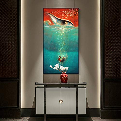 Modern high-Definition Poster and printmaking Movie Fish and Begonia Canvas Painting Mural Picture Nordic Style Frameless Painting 60X108CM