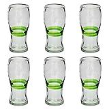 Vaso Cervecero (Pinta) Artesanal – Vidrio Reciclado – Verde Mezclado - Juego de 6