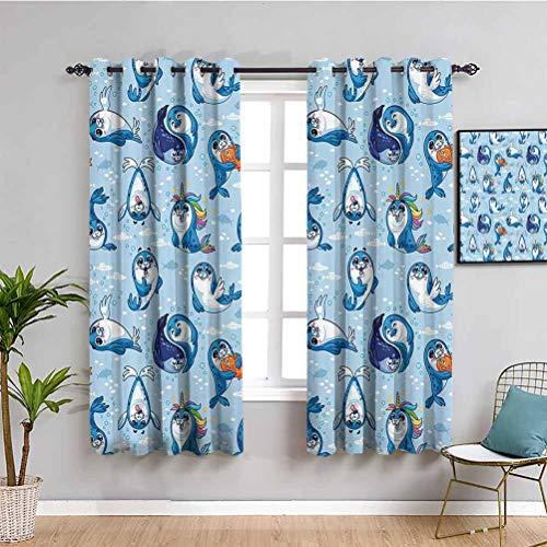Decoración de animales de mar cortina de tela sello Pup dibujos animados acuática salvaje amigable abrazo burbujas de agua para niños 2 paneles Sets W108 x L84 pulgadas