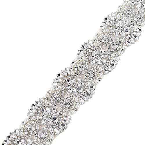 Brautgürtel und Schärpe Kristall Applique Trim Handgefertigte Hochzeit Gürtel Dekoration (Sliver0