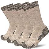 APTYID Men's Moisture Control Cushion Crew Work Boot Socks, Khaki, Sock Size 10-13, 4 Pairs