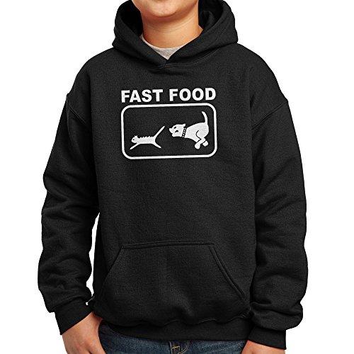 Nutees Fast Food Dog Chasing Cat Funny Unisexe Enfant Hoodie - Noir 5/6 Years