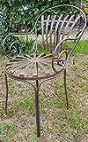 Casa Padrino Schmiedeeisen Gartenstuhl mit Armlehnen Ø 46 x H. 94 cm Jugendstil Gartenmöbel, Farbe:Vintage rot