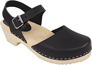 Low Wood Low Heel Clogs in Black Leather