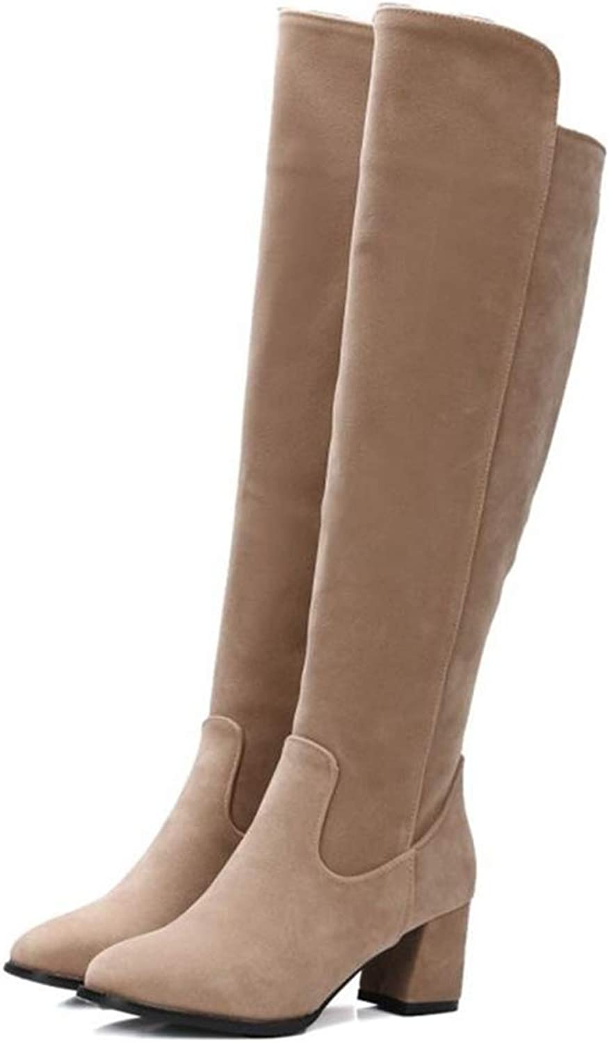 Hoxekle Women Over The Knee Boots Mid Square Heel Side Zippers Round Toe Female Sexy Cool Riding Winter Long shoes