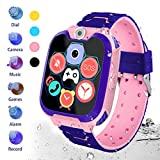 HuaWise Kids Smartwatch[SD Card Included], Waterproof Smartwatch for Kids with Quick Dial, SOS Call, Camera and Music Player, Birthday Gift Game Watch for Boys and Girls (Pink)