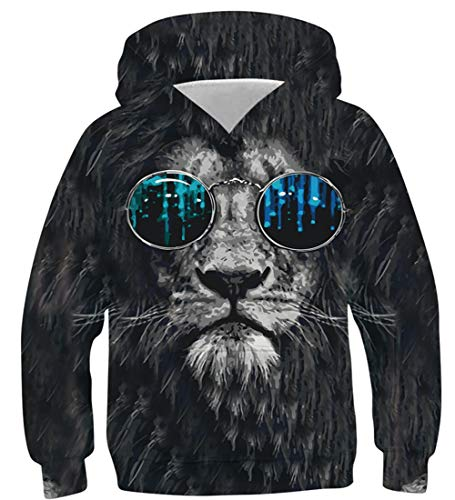 NEWISTAR Unisex Kids Hooded Jumpers 3D Lion Colourful Hoodie Long Sleeve Pocket Pull-Over