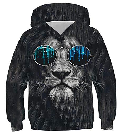 NEWISTAR Jungen Mädchen Kapuzenpullover Löwe Grafik Hoodie Kinder Langarm Pulli mit Kapuzen Sweatshirt Pullover,Lion,13-16 Jahre (Tag XL)