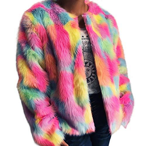 Warm Faux Pelzmantel Jacke Farbverlauf Parka Oberbekleidung Damen Mantel MYMYG Winter Elegant Multicolor Faux Fur Kunstfell Jacke Kurz Mantel Flaumig Coat(A8-Mehrfarbig,EU:36/CN-M)