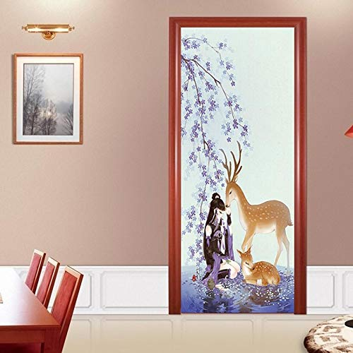 IKPHQF 3D Door Mural Cartoon Animal Elk Girl Self Adhesive Waterproof Art Door Stickers Kids Girls Boys Bedrooms Bathroom Toilet Home Decoration Decal Art Poster Wallpaper Removable Mural 77X200CM