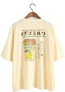 Camiseta de verano para mujer y niña, estilo japonés, de algodón Kawaii.