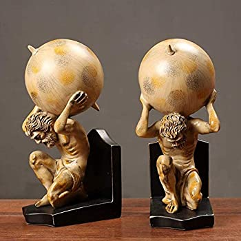 SDRFSWE Roman Titan Atlas Statues,Home Decor Bookends Resin Figurines,Greek Hercules God Desktop Sculptures Gifts for Library Study Office A 2-Piece