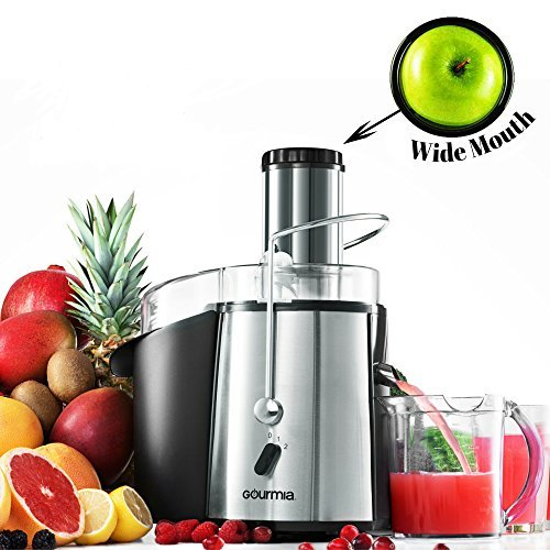 Gourmia GJ750 Wide Mouth Fruit Centrifugal Juicer 850 Watts Juice Extractor with Multiple Settings, Stainless Steel - Includes Free E-Recipe Book - 110V