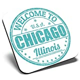 Great Single Coaster Square - Chicago Illinois USA America Travel  Glossy Quality Coasters   Tabletop Protection for Any Table Type #6123