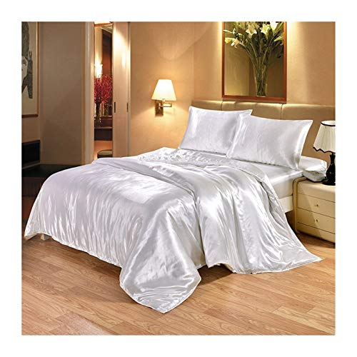 Bedding 4 Pieces Of Luxury Silk Bedding Set Satin King Size Bed Set Quilt Quilt Cover Quilt Cover Sheet And Pillowcase And Sheet bed linings (Color : White, Size : Flat Sheet)