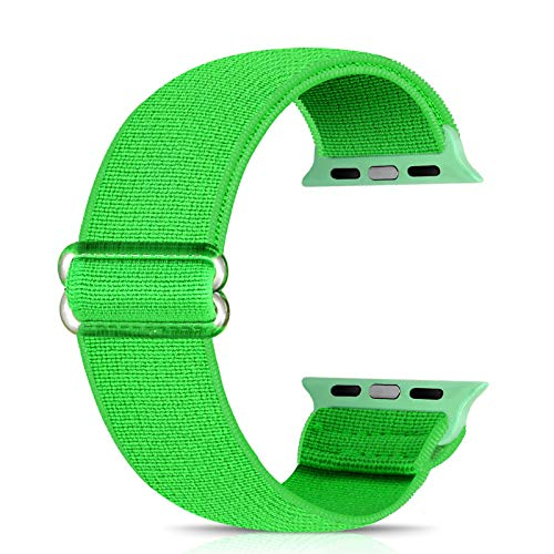 Ecogbd - Cinturino di ricambio elastico compatibile con Apple Watch Strap 38 mm, 40 mm, 42 mm, 44 mm, tessuto di nylon morbido, compatibile con iWatch Series 6, 5, 4, 3, 2, 1, SE(42 mm/44 mm, verde)