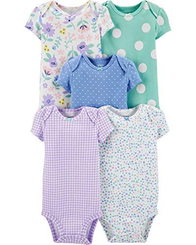 Pacote com 5 bodies originais de algodão Carter 's Baby Girls, Patterned, 24 Months