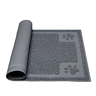 Darkyazi Pet Feeding Mat large for Dogs and Cats,24 ×16  Flexible and Easy to Clean Feeding Mat,Best For Non Slip Waterproof Feeding Mat. (Grey)