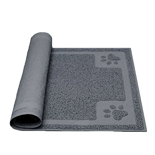 """Darkyazi Pet Feeding Mat Large for Dogs and Cats,24""""×16"""" Flexible and Easy to Clean Feeding Mat,Best for Non Slip Waterproof Feeding Mat. (Grey)"""