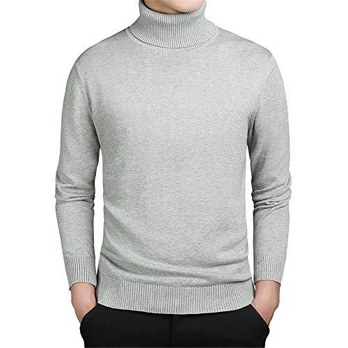 XGTsg Männer - Pullover, Rollkragen - Pullover, Gestrickte Pullover,Hellgrau,XL