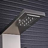 sistema de ducha mampara digital panel de ducha negro soporte de pared luz LED set de ducha columna de ducha torre 3 manijas 2 funciones chorro de masaje níquel cepillado-níquel cepillado