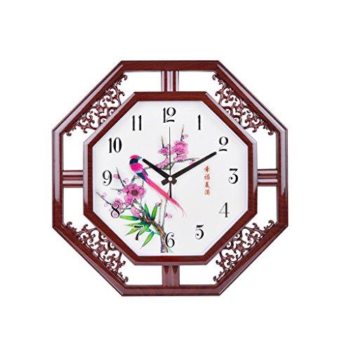 reloj de pared 20 Pulgadas Simple Imitación Creativa de Madera Reloj Chino de Pared Sala de Estar Dormitorio Moderno Hogar Reloj de Cuarzo Mudo Lostgaming (Size : Style One)