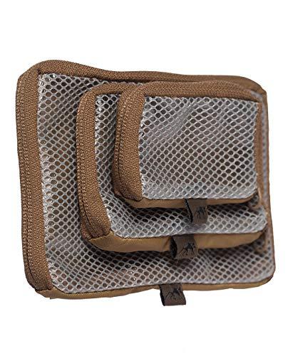 Tasmanian Tiger TT Mesh Pouch Set VL Rucksack Organizer Mesh Zusatz-Taschen Set in 3 Größen mit Klett-Rückseite (Coyote Brown)