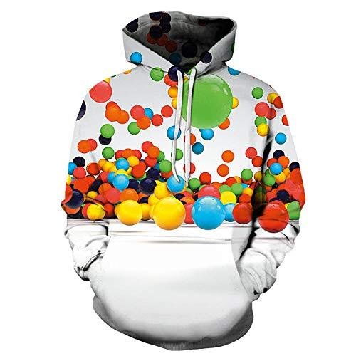 ASHGNV Patrón de Burbujas de Colores Impresión Digital 3D Sudadera con Capucha Unisex HD Pullover Sudadera Ligera Conjunto de Pareja de bolsillo-6XL