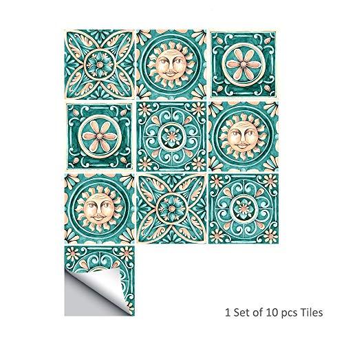 Marokkaanse Tegel Stickers voor Keuken & Badkamer - 6x6 Inch Pearly Backsplash Tegel Stickers Verwijderbare Vinyl Waterdichte Anti-Mood Home Decor Kunst voor Muren Trappen Stickers, 10 STKS 20x20cm/8x8 In S027