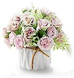 Hrbtag Flores Artificiales Hortensias, Flor Artificial para Decoracion con Ceramica Artificial Rosa Flores Preservadas para Boda Oficina Mesa Ventana Sala de Estar Dormitorio Rosado (Púrpura)