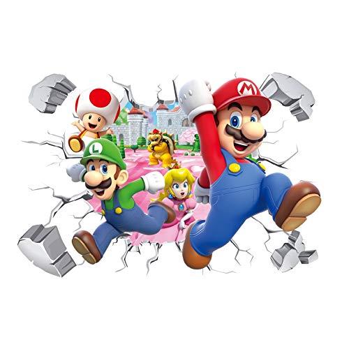 YUNMEI Fournitures de Dessin animé Mario 3D Dessin Animé Mario Bros PVC Stickers Muraux Stickers Enfants Chambre Pépinière Décor À La Maison Murale pour Garçon Chambre Murale Art Affiche 50 * 70 Cm