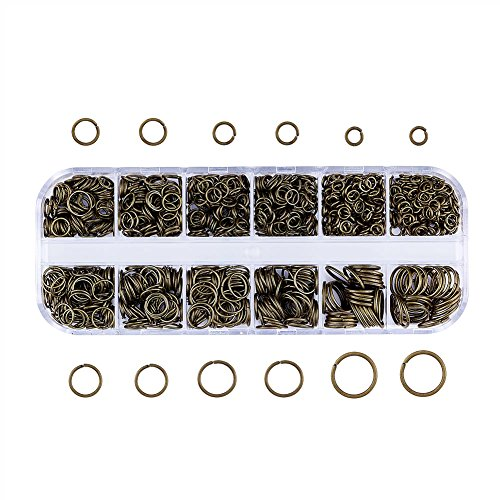 Pandahall Mixed Size 4-10mm Iron Open Jump Rings Nickel Free Antique Bronze Plated Unsoldered Round Ring Connectors for Chainmail Jewelry Bracelet Necklace Making